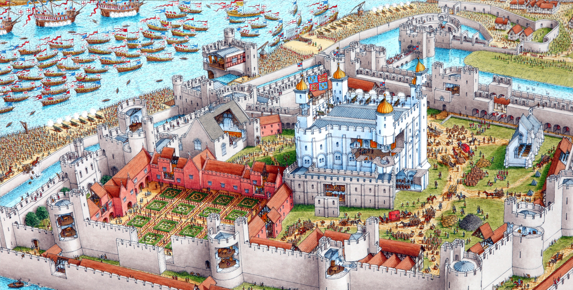 Hamfort moreover Galleries cutaway panoramas TowerOfLondon also Medieval Castles Floor Plans Layout as well Bradshaws Hand Book To London The West Day 5 District Iii St Jamess Palace And Green Park No 21 moreover Three Merovian Houses. on gatehouse floor plans